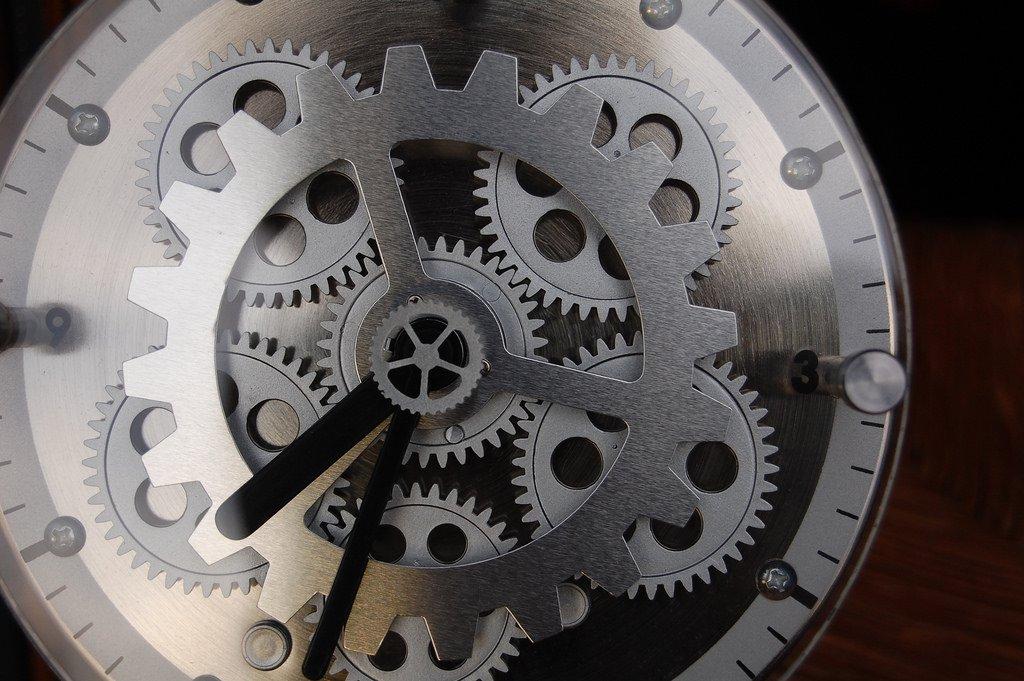 Closeup of a mechanical clock